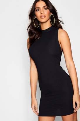 boohoo Rib Knit Sleeveless Bodycon Mini Dress