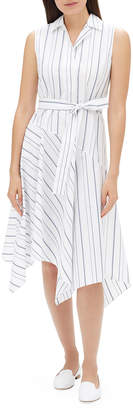 Lafayette 148 New York Dandy Solstice Stripe Sleeveless Self-Tie Shirt Dress