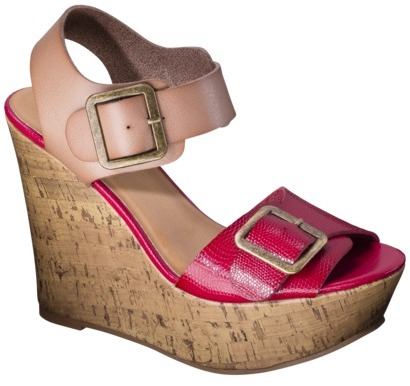 Mossimo Women's Walda Wedge Sandal with Buckle - Red