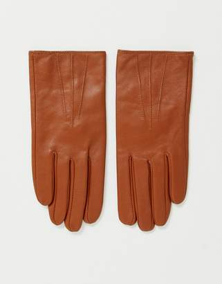 Asos Design DESIGN leather touch screen tan gloves