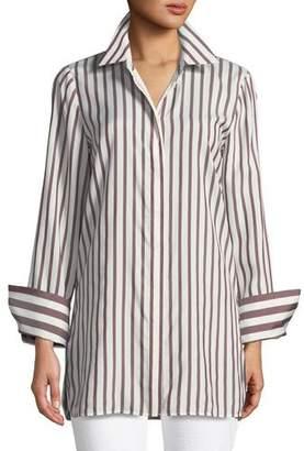 Lafayette 148 New York Waylon Showcase Micro-Stripe Silk Blouse, Plus Size