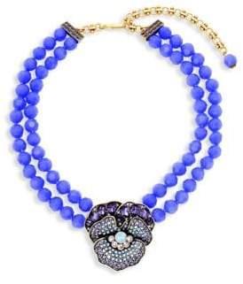 Heidi Daus Crystal Flowering Pansy Pendant Necklace