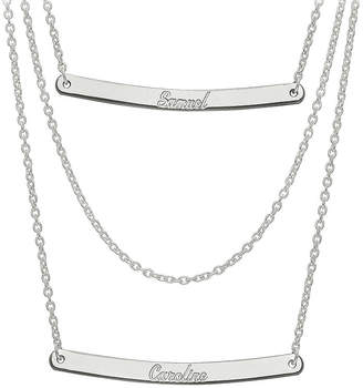 FINE JEWELRY Personalized Sterling Silver 2-Pc.Name Bar Necklace