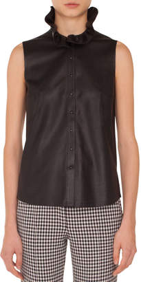 Akris Punto Sleeveless Ruffled-Turtleneck Button-Down Perforated Leather Top
