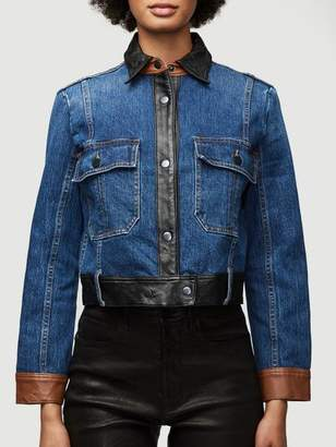 Frame Denim Leather Block Jacket