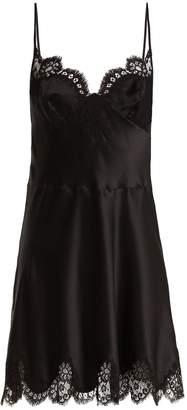 Lace-trimmed silk-satin slip dress