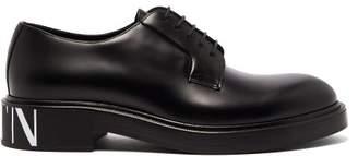 Valentino Vltn Logo Print Leather Derby Shoes - Mens - Black