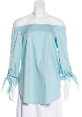 Tibi Bow-Accented Off-The-Shoulder Blouse