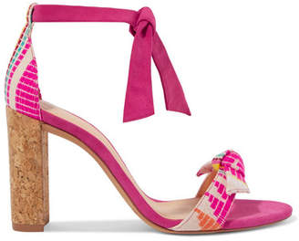 Alexandre Birman Clarita Bow-embellished Jacquard And Suede Sandals - Fuchsia