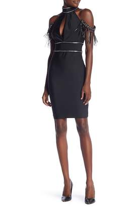 Wow Couture Faux Leather Shoulder Frill Dress