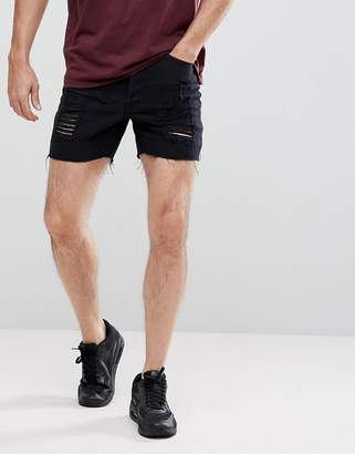 SikSilk Super Skinny Denim Shorts In Black With Distressing