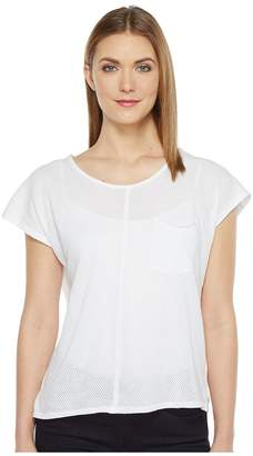 Mod-o-doc Cotton Mesh Cap Sleeve Pocket Tee Women's T Shirt