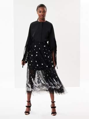 Oscar de la Renta Crystal-Embroidered Tulle Skirt