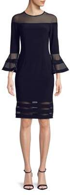 Betsy & Adam Bell-Sleeve Sheath Dress