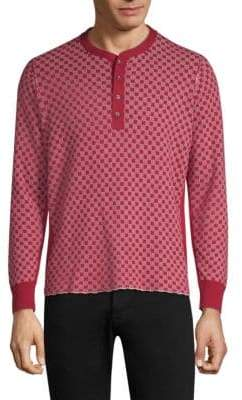 Ovadia & Sons Zack Checkerboard Cotton Henley
