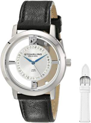 Stuhrling Original Women's 388L2.SET.01 Classic Winchester Tiara Swiss Quartz Swarovski Crystal Stainless Steel Black Leather Additional Strap Watch Set