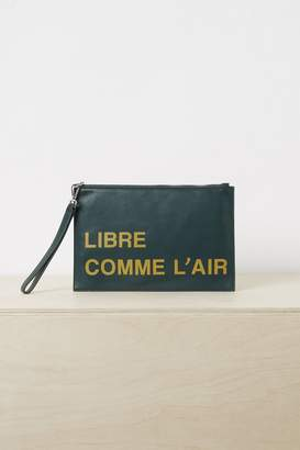 French Connection French Slogan Wristlet Clutch