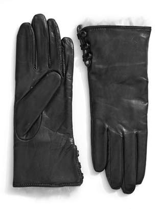 Lord & Taylor Wrist Length Side Button Leather and Rabbit Fur Gloves