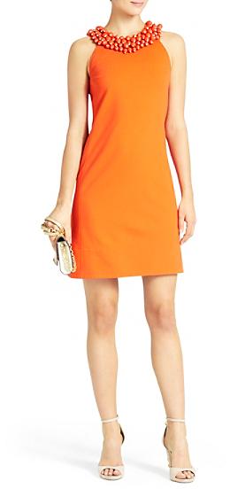 Diane von Furstenberg CeeCee Embellished Shift Dress In Blood Orange