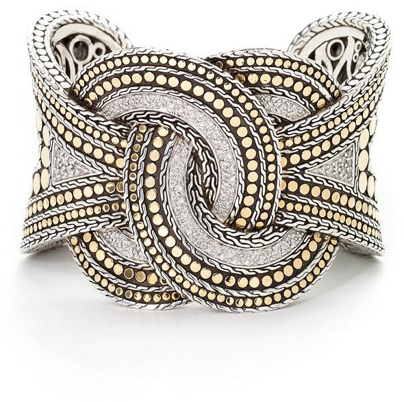 John Hardy Pavé Diamond Twisted Cuff Bracelet