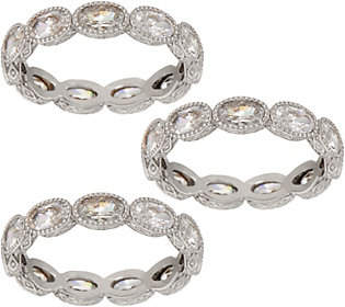 Judith Ripka Choice of Tone Set of 3 Oval DMQBand Rings