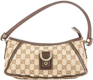 Gucci Brown Leather GG Monogram Canvas Abbey Pochette Bag (Pre Owned)