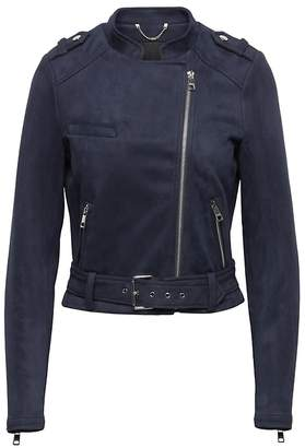 Banana Republic Petite Vegan Stretch-Suede Moto Jacket