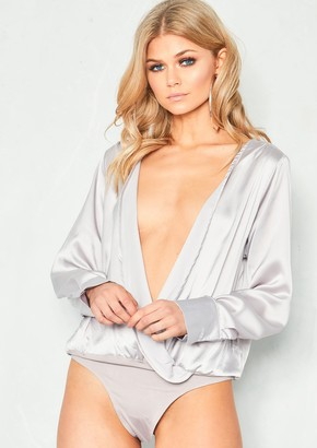 Missy Empire Cally Grey Satin Wrap Bodysuit