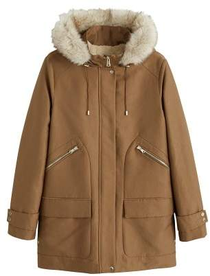 MANGO Furry hooded parka