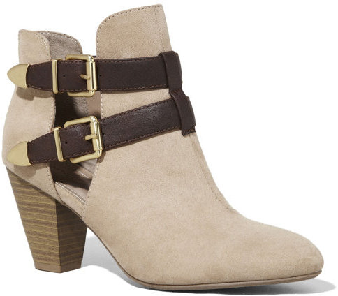 Express Ankle Strap Open Side Heeled Runway Bootie