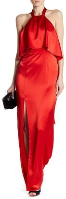 ABS by Allen Schwartz Halter Draped Neck Satin Gown
