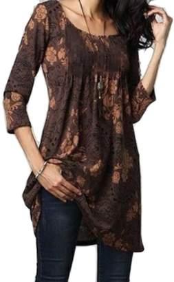 FreelyWomen Plus Size Mid Length 3/4 Sleeve Printed Blouses Top 2XL