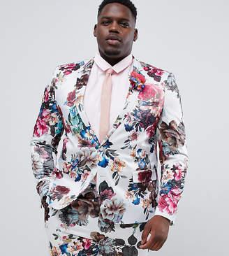Asos Design DESIGN Plus wedding skinny suit jacket with floral print