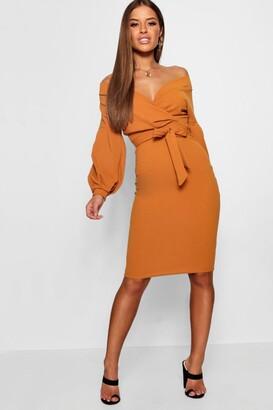boohoo Petite Off The Shoulder Wrap Midi Dress