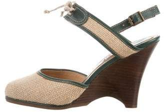 Marni Jute Round-Toe Wedges