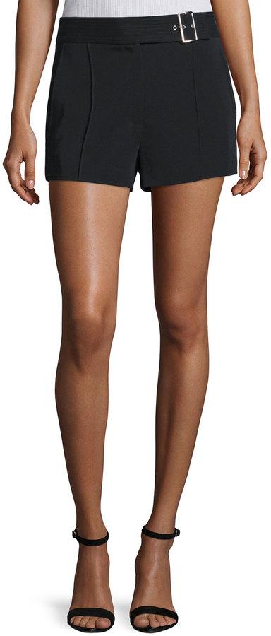 A.L.C.A.L.C. Del Belted Crepe Shorts, Black