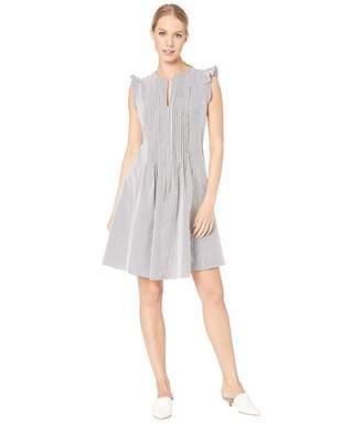 CeCe Flutter Sleeve Stripe Seersucker Dress