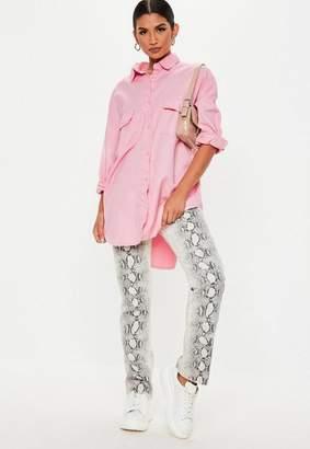 Missguided Pink Denim Super Oversized Boyfriend Shirt