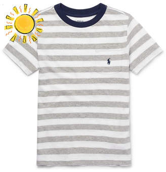 Polo Ralph Lauren Boys Ages 8 - 10 Striped Cotton-Jersey T-Shirt - Gray