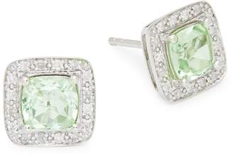 Saks Fifth Avenue Women's 14K White Gold Green Amethyst & Diamond Halo Stud Earrings
