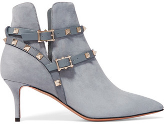 Valentino - The Rockstud Leather-trimmed Suede Ankle Boots - Light blue $1,375 thestylecure.com