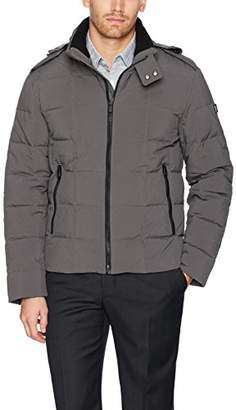 Tumi Men's Box Quilted Down Jacket with Removable Hood