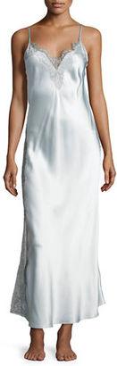 Christine Designs Midsummer Lace-Trim Long Silk Nightgown $425 thestylecure.com