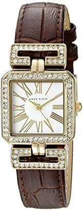 Anne Klein Women's AK/2396WTBN Swarovski Crystal Accented Brown Croco-Grain Leather Strap Watch