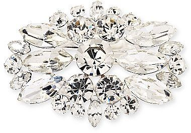JCPenney Silver-Tone Crystal-Accent Oval Pin