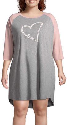 Ambrielle Jersey 3/4 Sleeve Round Neck Nightshirt-Plus