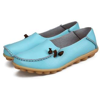 BEIGE IRuis Women's Genuine Leather Loafers Casual Moccasin Driving Shoes Indoor Flat Slip-on Slippers