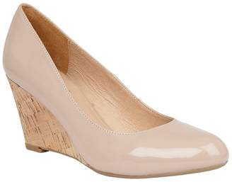 Lotus Natural Patent 'Jelico' Mid Wedge Heel Court Shoes