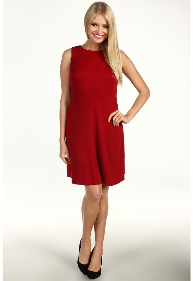 Donna Morgan Millie A-Line Dress With Exposed Back Zipper (Cranberry) - Apparel