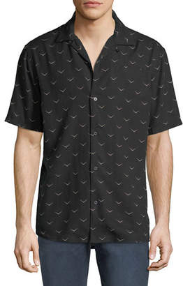 Hudson Men's Camp-Collar Printed Short-Sleeve Sport Shirt